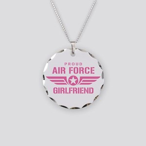 Proud Air Force Girlfriend W [pink] Necklace Circl